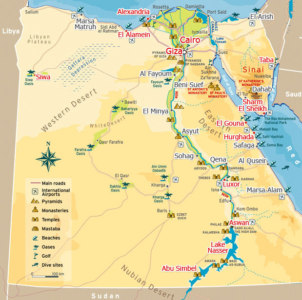 Travel To Egypt Egypt Information And Tourism Egypt Travel Guide - Map of egypt with pyramids